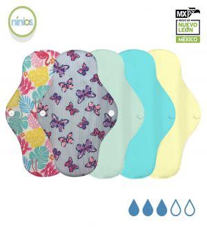 5 Pack Toalla Regular (Colores Pastel y Diseño)