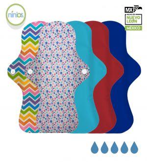 5 Pack Toalla Nocturna (Colores Brillantes y Diseño)