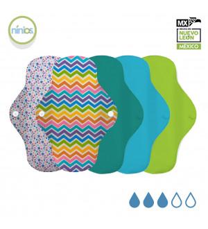 5 Pack Toalla Regular (Colores Brillantes y Diseño)