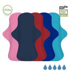 5 Pack Toalla Nocturna (Colores Brillantes)